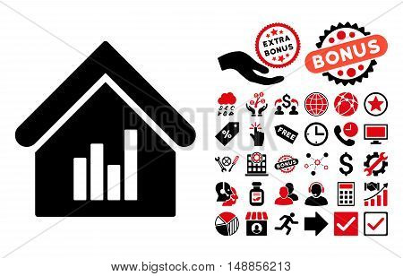 Realty Bar Chart pictograph with bonus pictograph collection. Vector illustration style is flat iconic bicolor symbols intensive red and black colors white background.