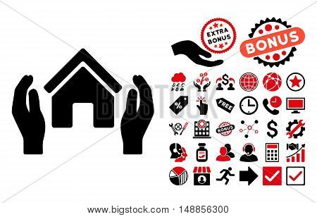 Realty Insurance Hands pictograph with bonus design elements. Vector illustration style is flat iconic bicolor symbols intensive red and black colors white background.