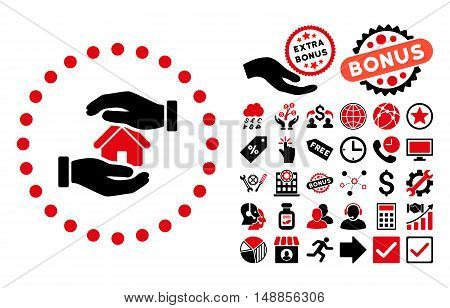 Realty Insurance pictograph with bonus design elements. Vector illustration style is flat iconic bicolor symbols intensive red and black colors white background.
