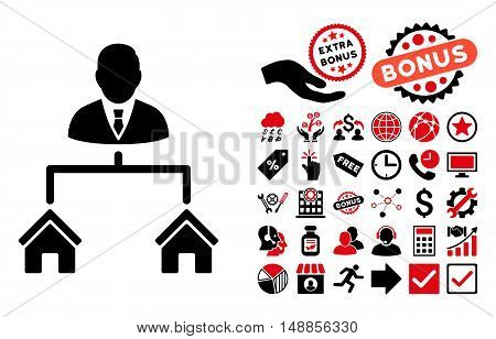 Realty Manager icon with bonus pictogram. Vector illustration style is flat iconic bicolor symbols intensive red and black colors white background.