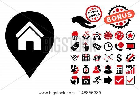Realty Map Marker icon with bonus pictogram. Vector illustration style is flat iconic bicolor symbols intensive red and black colors white background.