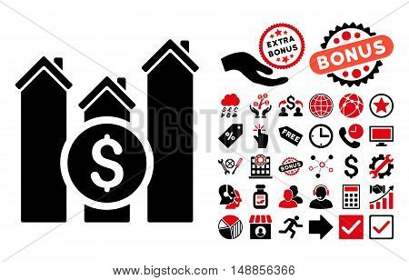 Realty Price Charts pictograph with bonus clip art. Vector illustration style is flat iconic bicolor symbols intensive red and black colors white background.