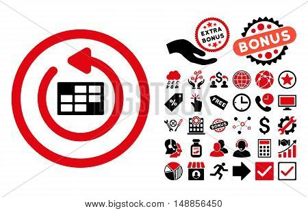 Refresh Calendar icon with bonus symbols. Vector illustration style is flat iconic bicolor symbols intensive red and black colors white background.