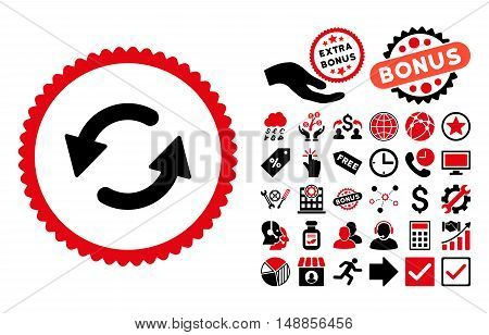 Refresh CCW icon with bonus design elements. Vector illustration style is flat iconic bicolor symbols intensive red and black colors white background.