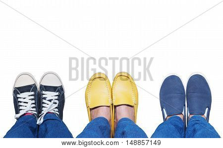 Selfie feet wearing variety shoes isolated on white background