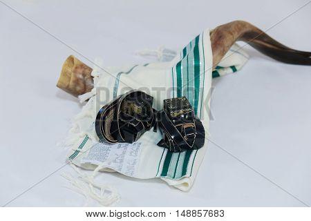 Prayer Shawl - Tallit and Shofar horn jewish religious symbol