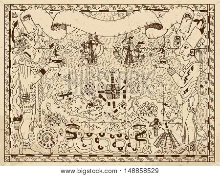 Old mayan, aztec or pirate map with two gods, ships and fantasy land on ancient paper background. Hand drawn vector illustration. Vintage adventures, treasures hunt and old transportation concept