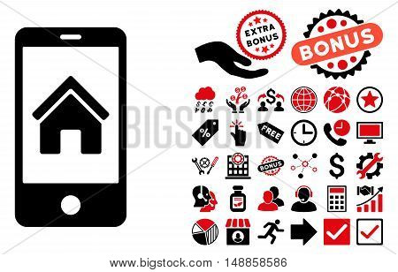Smartphone Homepage icon with bonus icon set. Vector illustration style is flat iconic bicolor symbols, intensive red and black colors, white background.