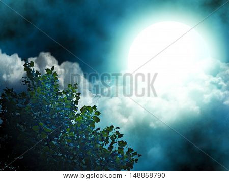 Bright moon illuminating the tree and the clouds.