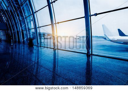 airport hallway and plane outdoor