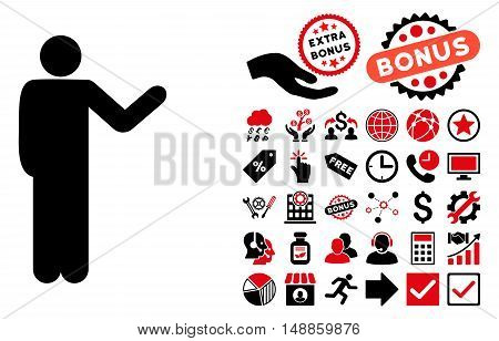 Talking Man icon with bonus icon set. Vector illustration style is flat iconic bicolor symbols, intensive red and black colors, white background.