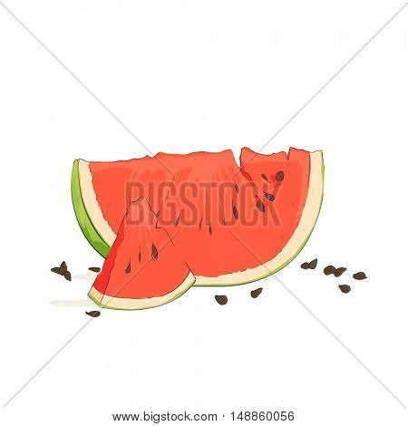 ripe watermelon slice on a white background