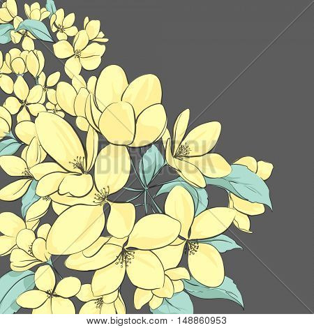 Illustration with yellow apple tree flowers