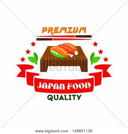 Japanese cuisine icon. Sushi set, salmon fish, wasabi, chopsticks, red ribbon, stars elements. Template label for restaurant, eatery menu card. Japan food premium quality restaurant label, advertising sticker, door signboard, poster, leaflet, flyer
