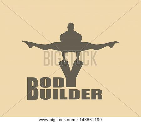 Muscular man posing on bodybuilder word. Vector silhouette. Bodybuilding relative image