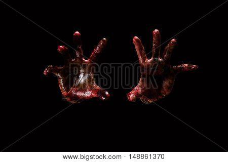 Halloween theme:Bloody hands black background zombie demon kille