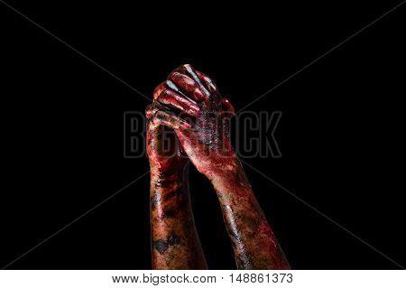 Halloween theme:Bloody hands black background zombie demon killer