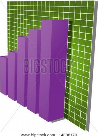 Three-d barchart and upwards line graph financial diagram illustration over square grid