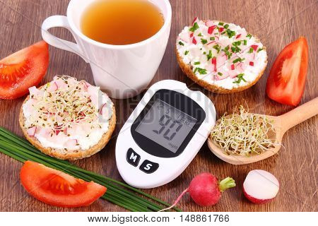 Glucometer, Freshly Sandwich With Vegetables And Hot Tea, Healthy Nutrition