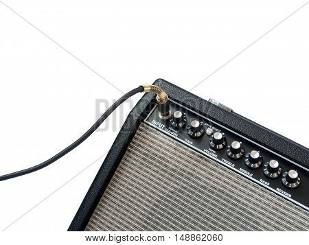Guitar Amplifier With Jack Cable Isolated On White Background