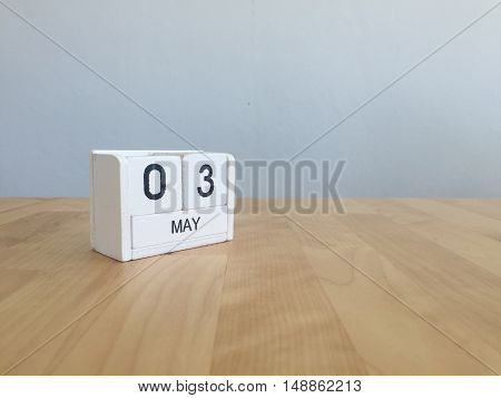 May 3Rd.may 3 White Wooden Calendar On Vintage Wood Abstract Background.spring Day.copyspace For Tex