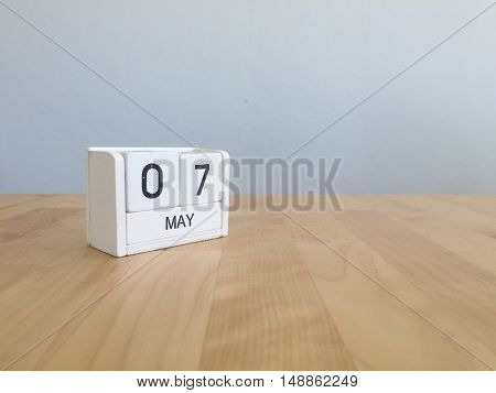 May 7Th.may 7 White Wooden Calendar On Vintage Wood Abstract Background.spring Day.copyspace For Tex