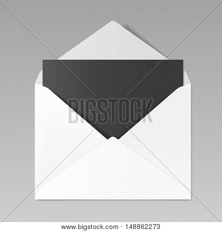 Blank realistic opened white envelope with black sheet of paper inside, mockup