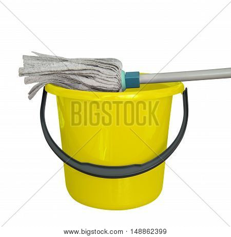 Yellow bucket with cleaning mop isolated on a white background. Clipping path included.