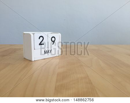 May 29Th.may 29 White Wooden Calendar On Vintage Wood Abstract Background.spring Day.copyspace For T