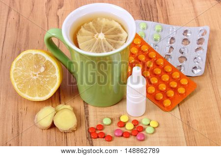 Pills, Nose Drops And Hot Tea With Lemon For Colds, Treatment Of Flu And Runny
