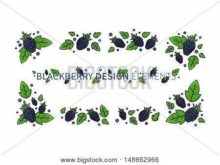 Blackberry line art vector illustration. Blackberry design elements creative concept. Graphic design for poster banner placard.