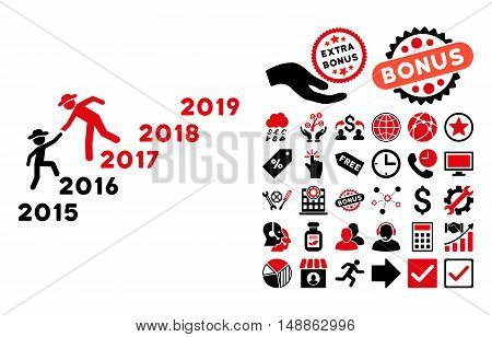 Years Guys Help icon with bonus elements. Vector illustration style is flat iconic bicolor symbols, intensive red and black colors, white background.
