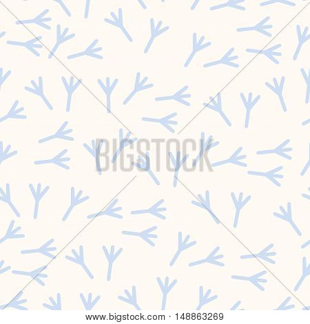 Vector Seamless Pattern Of Bird Tracks In The Snow. Fabric Textile Print