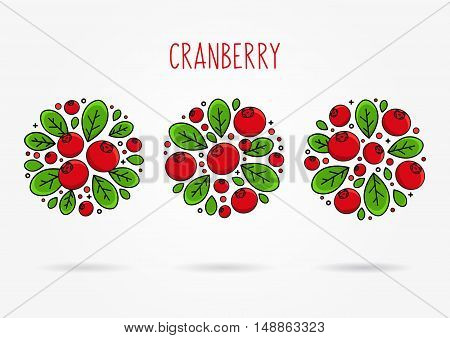 Cranberry line art vector illustration. Cranberry round labels creative concept. Graphic design for poster banner placard. Template layout with text and berries.