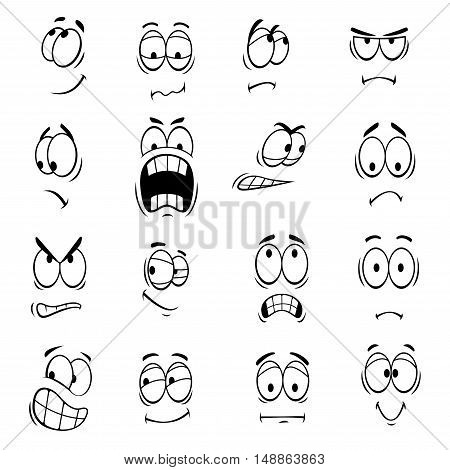 Human cartoon eyes with face expressions and emotions. Cute smiles icons for emoticons. Vector emoji elements smiling, happy, surprised, sad, angry, mad, stupid, crying, shocked, comic, upset silly scared
