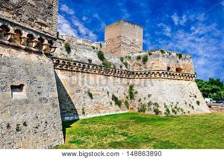 Bari Italy. Swabian Castle Castello Svevo medieval architecture of Puglia capital city.