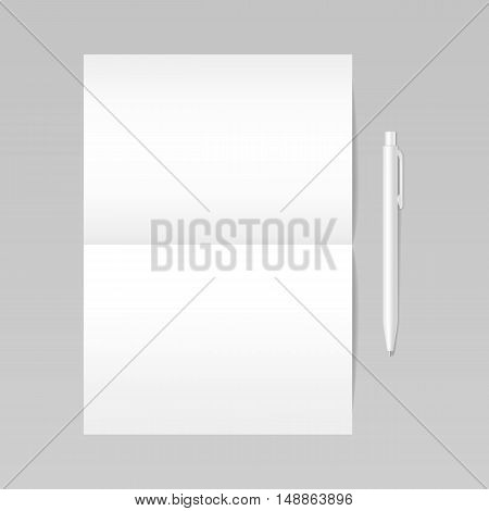 Folded realistic blank sheet of paper with white pen mockup