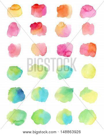 Watercolor splashes isolated on white background. Vector illustration.