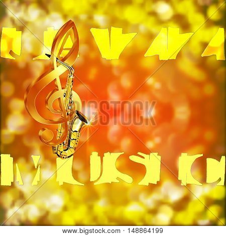Music label jazz music saxophone unusual font and treble clef on blurred background with bright highlights.