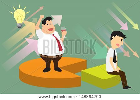 Market competition. Competing business sectors concept represented by pie chart with standing and sitting on their sectors businessman. market shared concept vector illustration.
