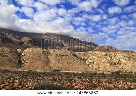Beautiful Mountains with clouds in Sultanate of Oman