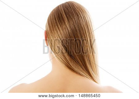 Blonde woman with healthy hair - isolated on white background.