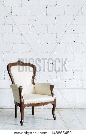 White Vintage classical farbirc style Chair
