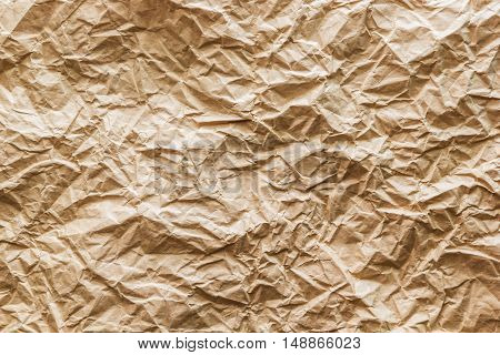A Texture photo of brown crumpled paper