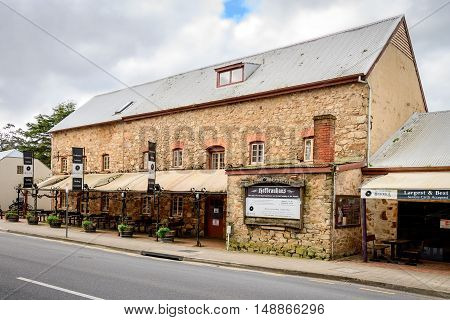 Adelaide Australia - August 13 2016: Old Mill Hotel in the town of Hahndorf Adelaide Hills area South Australia. View from the main entrance.