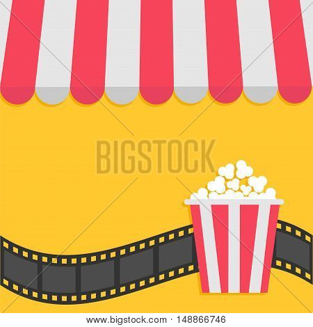 Popcorn. Film strip. Cinema icon. Striped store awning for shop marketplace cafe restaurant. Red white canopy roof. Flat design. Yellow background Isolated. Vector illustration
