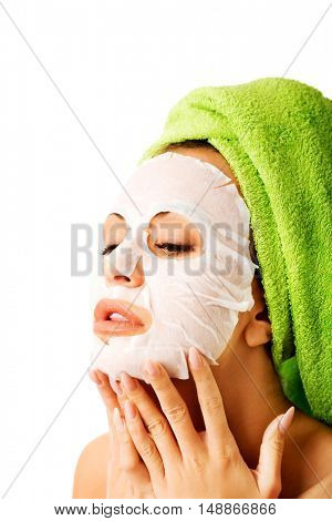 Caucasian woman with face mask