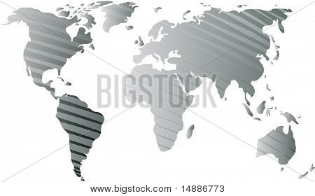 Map of the world illustration, with abstract line streaks
