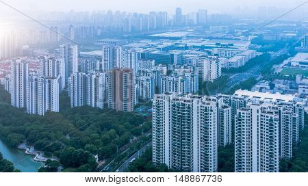 aerial view of guangzhou city,china.Guangzhou historically romanised as Canton,is the capital and largest city of Guangdong Province in southeastern China.