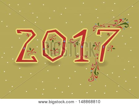 Happy New Year 2017. Calendar template. Red hand drawn symbols with floral decor. Country font. Celebration background with confetti. Greeting card. Vector illustration.